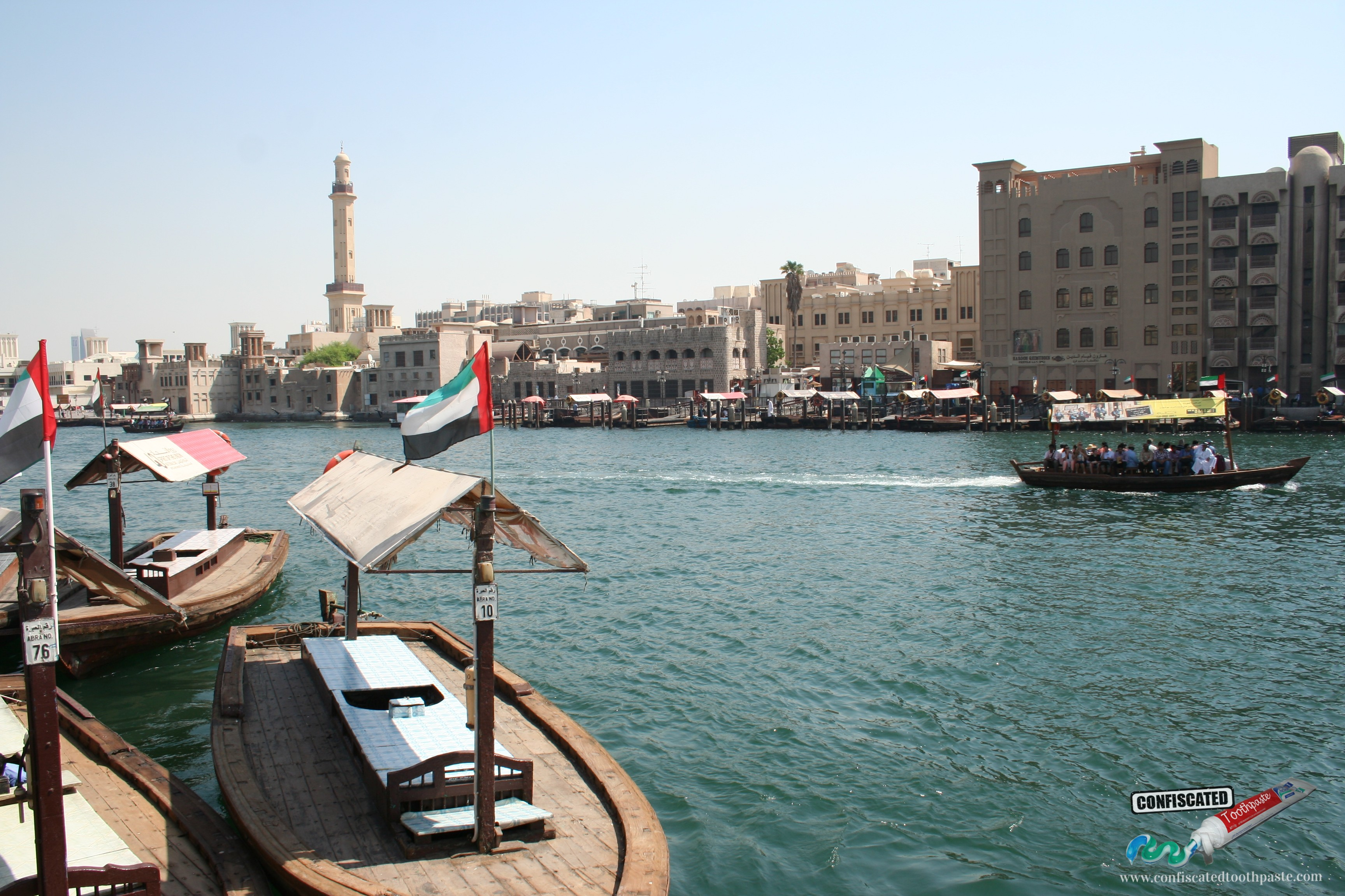 Dubai Creek, United Arab Emirates (UAE)Dubai Creek. Taking a dhow or abra across the creek is cheap and magical.