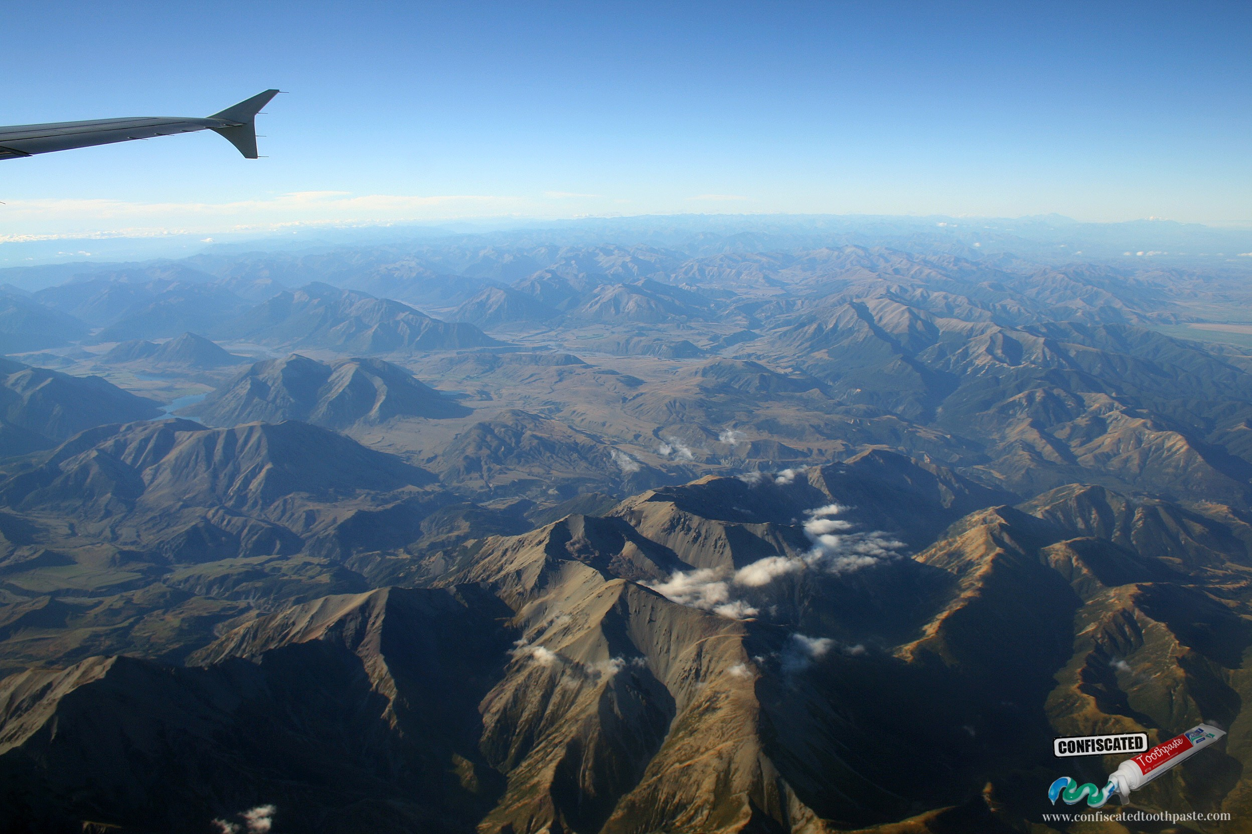 Flying over New Zealand's South Island