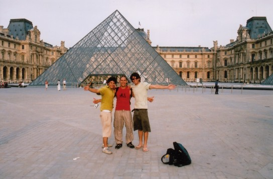 At the Louvre with hostel buddies I've since lost touch with.