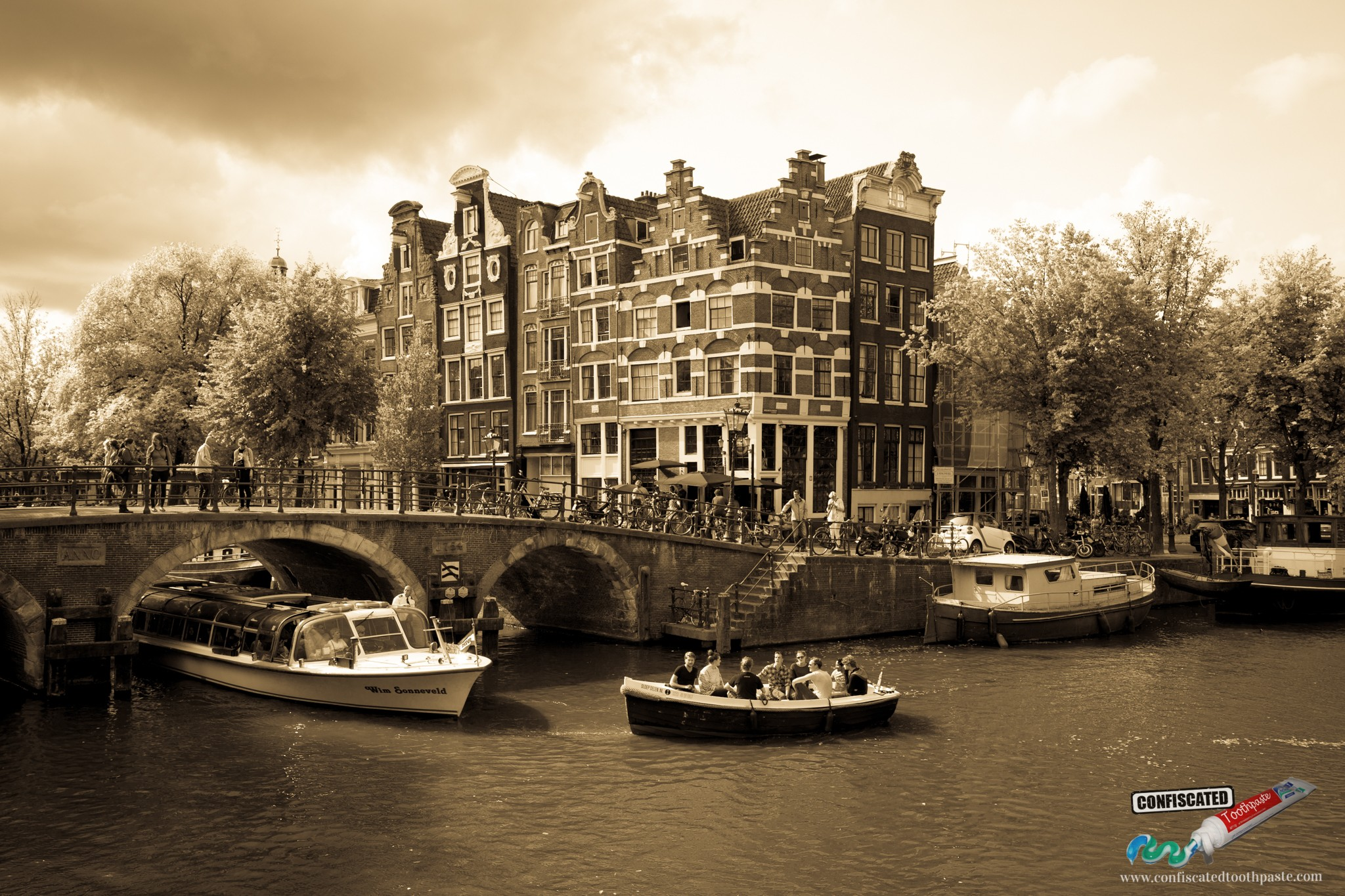 Amsterdam Canal with Dreamlike Bridge and House