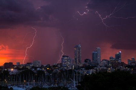 A great sunset lightning storm blew up over Sydney in late 2015 and I was lucky (unlucky) enough to be caught in it- with my camera.