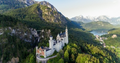 Neuschwanstein Castle overlooking Hohenschwangau and Alpsee