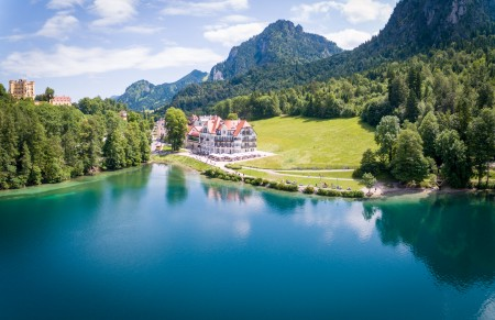 The Alpsee panorama. Neuschwanstein Castle can be seen on the other side of the valley, with Old Hohenschwangau Castle also visible