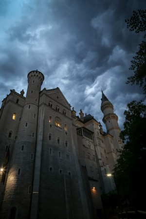 Staying right underneath the castle will enable you to get views you can't get during the day. We had a stormy night and the castle really took on a whole different mood to its gleaming daytime fairytale appearance!