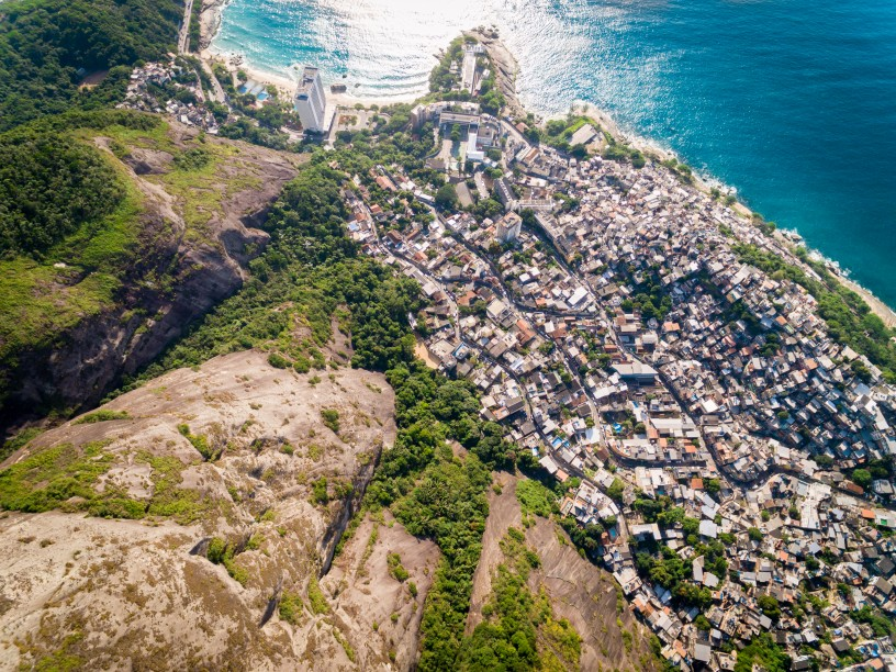 Aerial shot of Vidigal favela