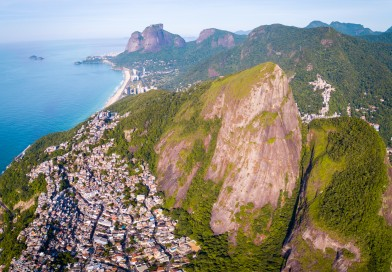 Flying Drone Atop Dois Irmaoes (Two Brothers) Mountain in Rio de Janeiro